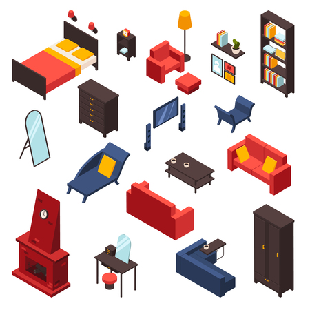 Living room furniture icons set with sofa TV and mirror isometric isolated vector illustration