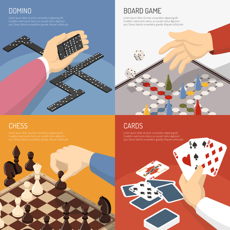Four square colored board games design concept set with domino chess cards descriptions vector illustration