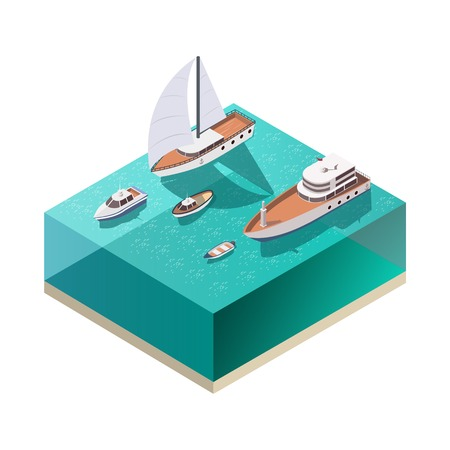 Four ships of different size floating on water isometric composition on white background 3d vector illustration Ilustrace