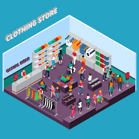 Clothing store isometric composition with customers shelves with goods racks with dresses mannequins in apparel vector illustration Ilustração