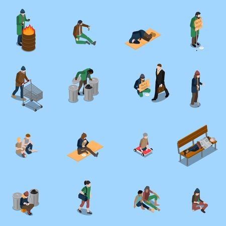 Isometrischer Satz der obdachlosen Leute mit Hilfsbedürftigen und Behinderter der Bettler trampelt auf blauem Hintergrund lokalisierte Vektorillustration