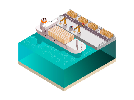 Shipyard composition with isometric image of marine cargo terminal crane towers loading containers onto cargo ship vector illustration