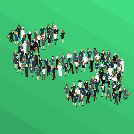 Crowd of business people in form of dollar sign isometric concept on green background vector illustration