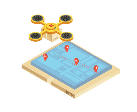 Goods delivery tracking composition with location and route of transportation on mobile device screen  isometric vector illustration