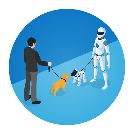 Round  composition of dog owner meeting white domestic robot walking with robot dog isometric vector illustration