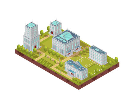 green buildings: Complex of university buildings with football field, green trees, benches and walkways isometric layout vector illustration