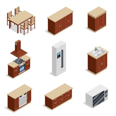 Mobilier de cuisine icônes isométriques avec réfrigérateur et table illustration vectorielle isolée Banque d'images - 79039981
