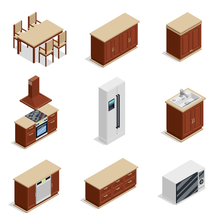 Kitchen furniture isometric icons set with fridge and table isolated vector illustration