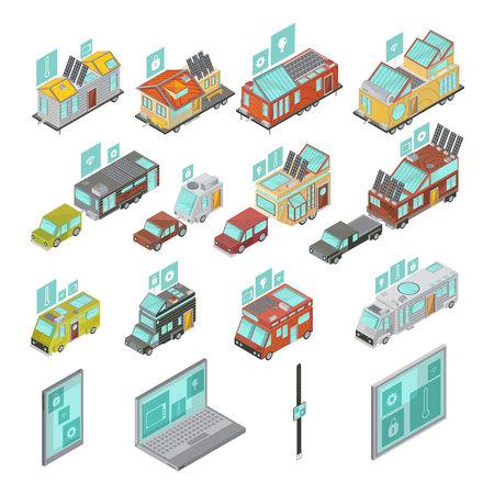 Insieme isometrico delle case mobili compreso i furgoni dei dispositivi elettronici e rimorchi delle case con l'illustrazione di vettore isolata icone di tecnologie