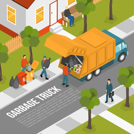 Colored isometric garbage recycling composition with garbage truck on a green street vector illustration