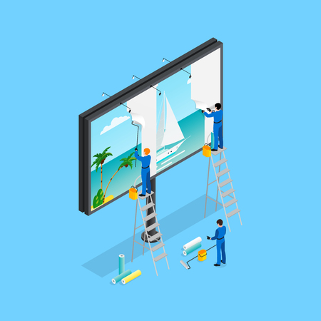 persuading: Advertising isometric concept with billboard  on blue background isometric vector illustration Illustration