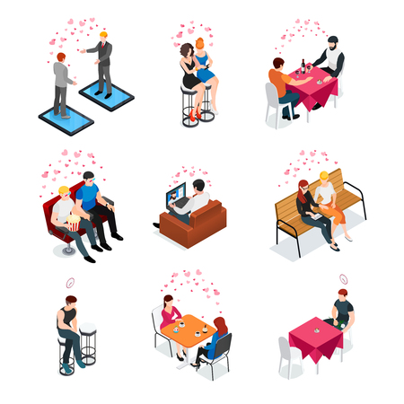 Gay dating isometric compositions with same sex couples meeting in cafe cinema and outdoor vector illustration