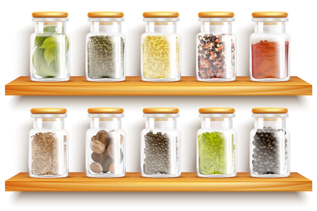 Colored and realistic glasses jars with herbs spices set composition on wooden shelves vector Illustration Illustration