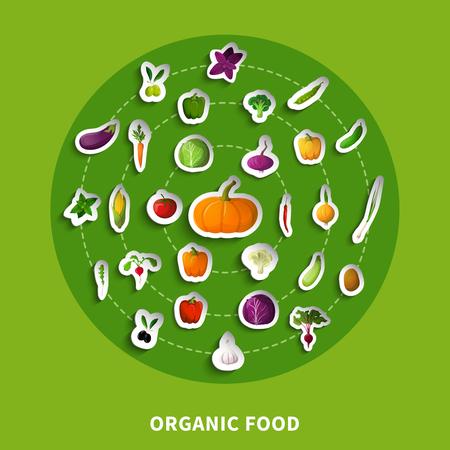 緑の背景でカボチャ トマト オリーブ パプリカ キャベツ タマネギと有機食品装飾的な紙のアイコン ベクトル イラスト
