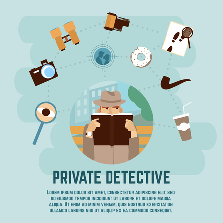 Private detective concept with camera magnifying glass and book flat vector illustration Illustration