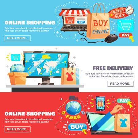 Elektronische handel horizontale die banners met online het winkelen en leveringsbeeldsamenstellingen worden geplaatst met lees meer knoop vectorillustratie