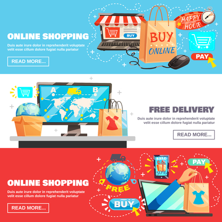 Electronic commerce horizontal banners set with online shopping and delivery image compositions with read more button vector illustration