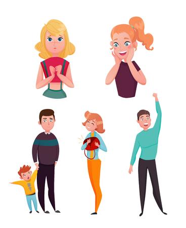 Expresiones de las emociones de la gente con feliz envidioso sorprendido y anhelo de ilustración de vector de colección de personajes de dibujos animados de dulces Foto de archivo - 79038597