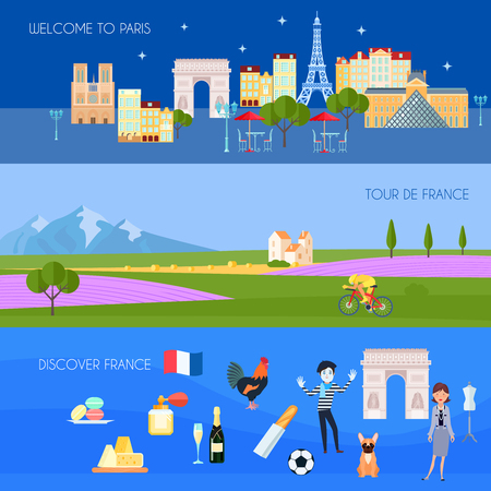 french culture: France horizontal banners set with Paris symbols flat isolated vector illustration