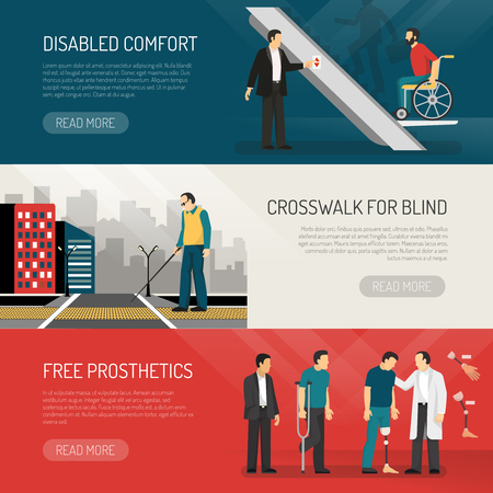 Disabled people horizontal banners set with comfort symbols flat isolated vector illustration