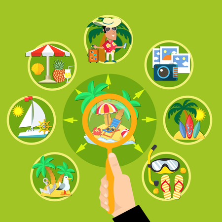Vacation travel flat composition with human hand holding magnifier lens and tropical activities with touristic symbols vector illustration