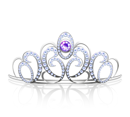 Colored realistic diadem silver inlaid with precious stones for princess and queen vector illustration