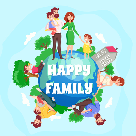 Happy family cartoon composition with children and their parents figurines around earth planet flat vector illustration