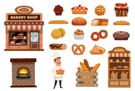 Bakery icons set with cook figurine bakery shop and baked goods collection flat isolated vector illustration