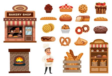 Die Bäckereiikonen, die mit Kochfigürchenbäckereiladen und lokalisierter Vektorillustration der Backwaren-Sammlung Ebene eingestellt wurden Standard-Bild - 79038604