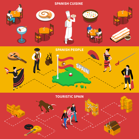touristic: Touristic Spain horizontal isometric banners set with cuisine and people symbols isolated vector illustration