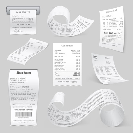 Cash register sales receipts printed on thermal rolled paper realistic samles set light gray background vector illustrations