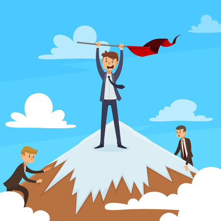 Successful career design concept with winner on mountain top and competitors on blue sky background vector illustration Illustration