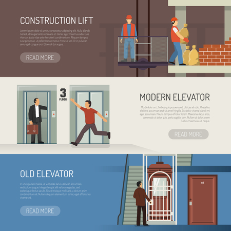 Elevator escalator stairs banners set with modern vintage and industrial lift images and read more button vector illustration Ilustração