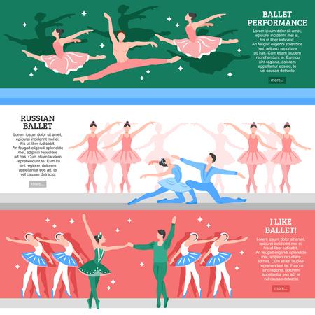 Horizontale vlakke die banners met de Russische school van balletprestaties en minnaars van klassieke dans geïsoleerde vectorillustratie worden geplaatst Stock Illustratie
