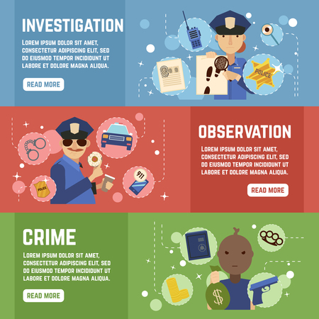 Private detective horizontal banners set with observation symbols flat isolated vector illustration