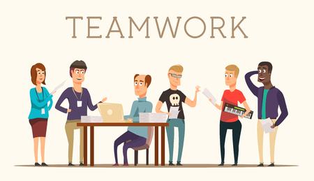 scriptwriter: Movie making team staff discussing work on new film flat vector illustration Illustration