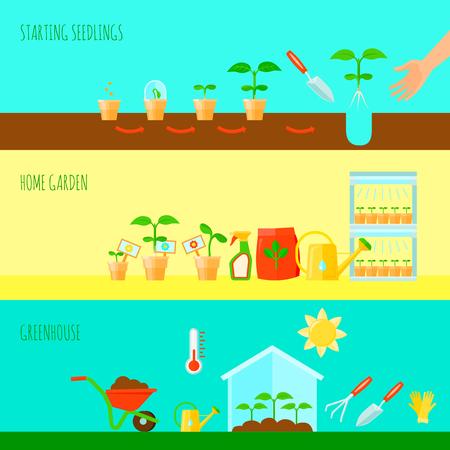 苗水平バナー温室シンボル フラット分離ベクトル イラスト セット