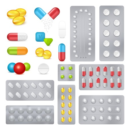 Pharmaceutical products medicine pills and capsules in push through aluminium laminated foil packages realistic set vector illustration