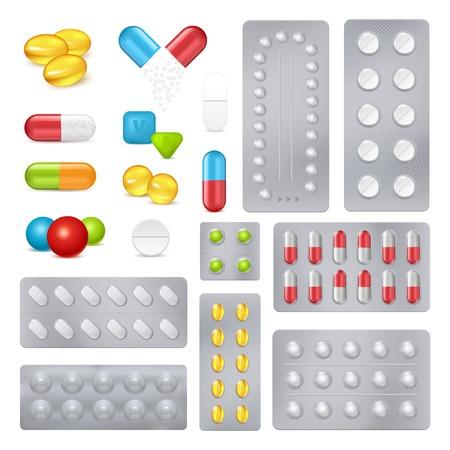 Productos farmacéuticos medicina píldoras y cápsulas en empuje a través de laminado de aluminio paquete de paquetes realista conjunto ilustración vectorial