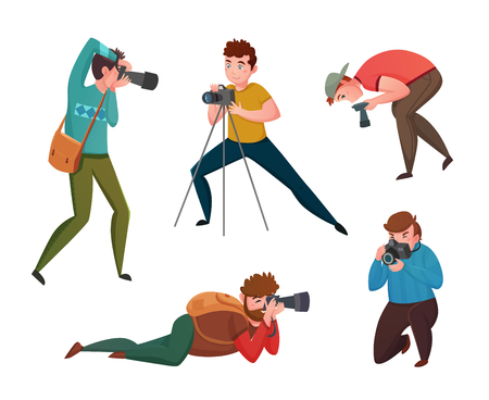 Male photographer in different poses with cameras decorative icons set isolated vector illustration Illustration