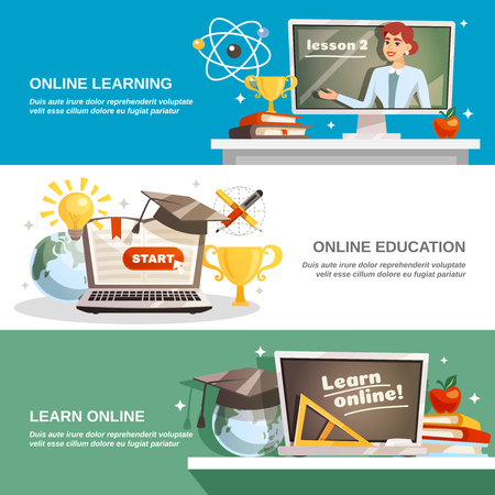 Online education horizontal banners with professional lecturer gives lessons on internet  flat vector illustration