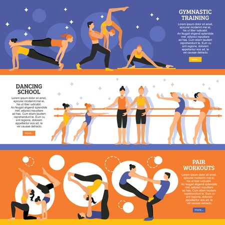 Horizontale vlakke die banners met gymnastiek van de dansschool de gymnastiek- en oefeningen van acrobatische paar geïsoleerde vectorillustratie worden geplaatst Stock Illustratie
