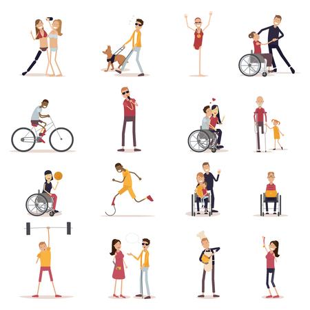 Gehandicapte die mensenpictogrammen met sporten en vrije tijdsymbolen vlak geïsoleerde vectorillustratie worden geplaatst Stock Illustratie