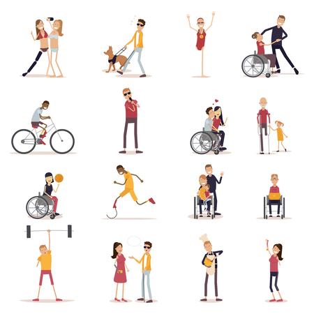 Disabled people icons set with sports and leisure symbols flat isolated vector illustration Illustration
