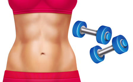 Beautiful woman abs and two dumbbells realistic set isolated on white background vector illustration