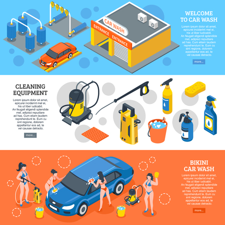 Set of isometric horizontal banners with car wash, cleaning equipment, girls workers in bikini isolated vector illustration