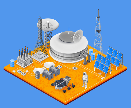 Space station isometric concept with solar energy symbols vector illustration Ilustrace