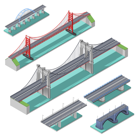 Bridges isometric set above river bay or lake isolated vector illustration