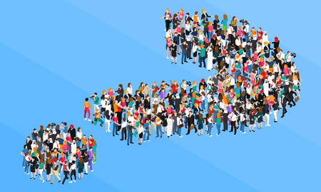 coordinated: Organized crowd standing in form of question mark isometric design concept on blue background vector illustration Illustration