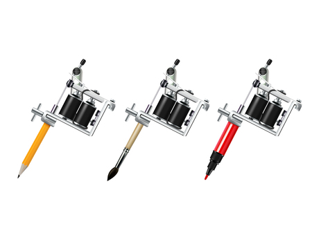 Tattoo machine with pencil brush and marker drawing set isolated on white background realistic vector illustration
